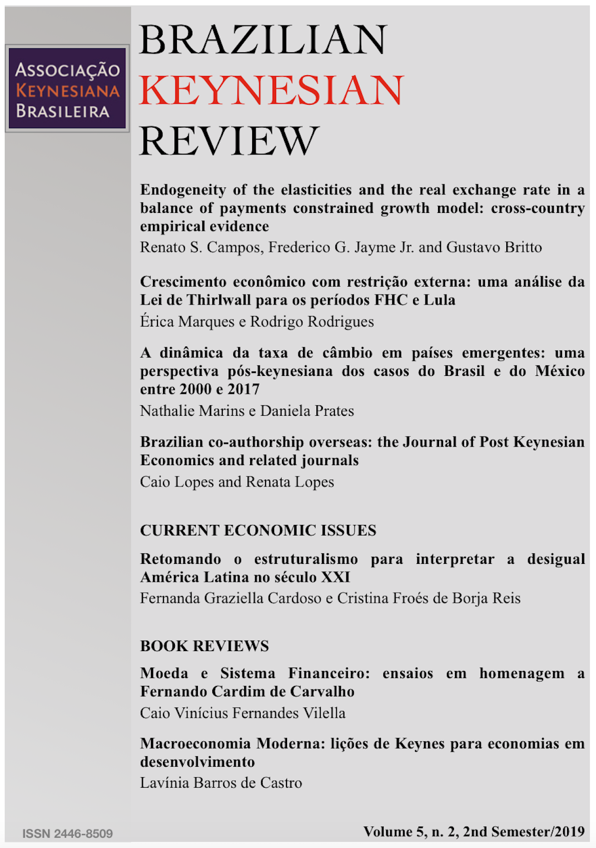 Front page of Brazilian Keynesian Review volume 5 number 2